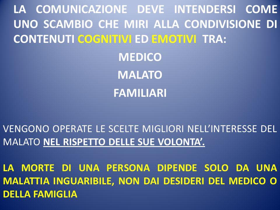 LA COMUNICAZIONE DEVE INTENDERSI COME UNO SCAMBIO CHE MIRI ALLA CONDIVISIONE DI CONTENUTI COGNITIVI ED EMOTIVI TRA: MEDICO MALATO FAMILIARI