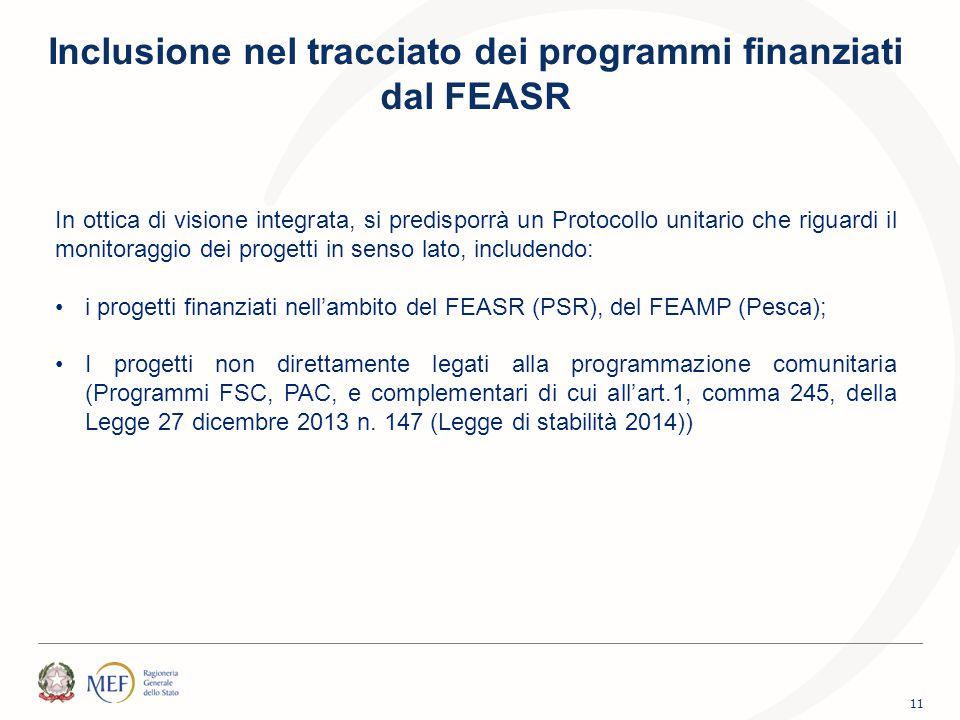 Inclusione nel tracciato dei programmi finanziati dal FEASR