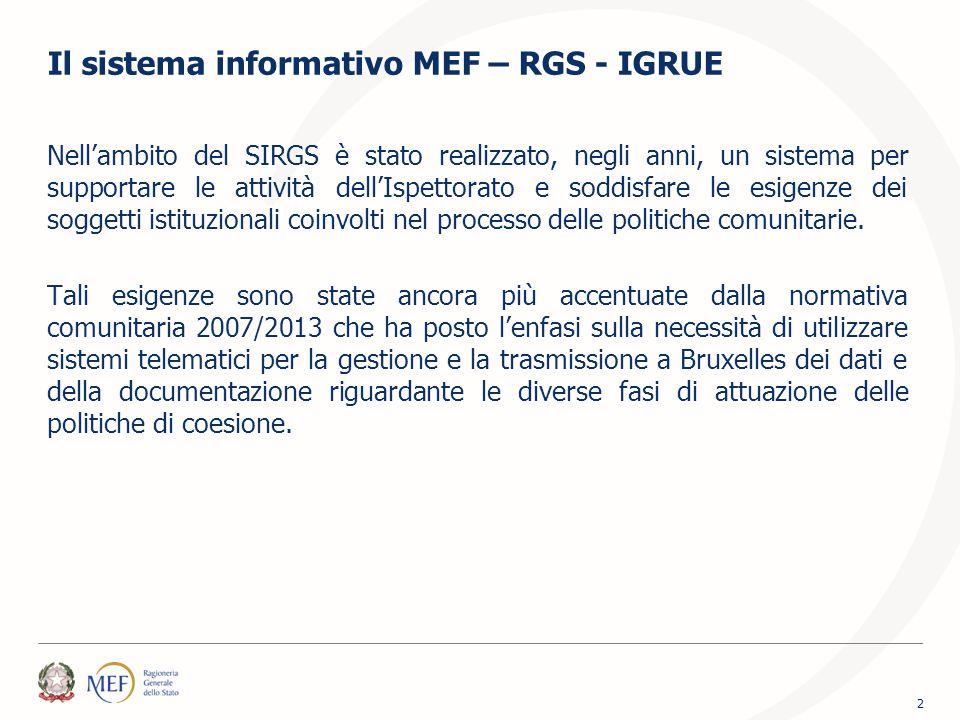 Il sistema informativo MEF – RGS - IGRUE