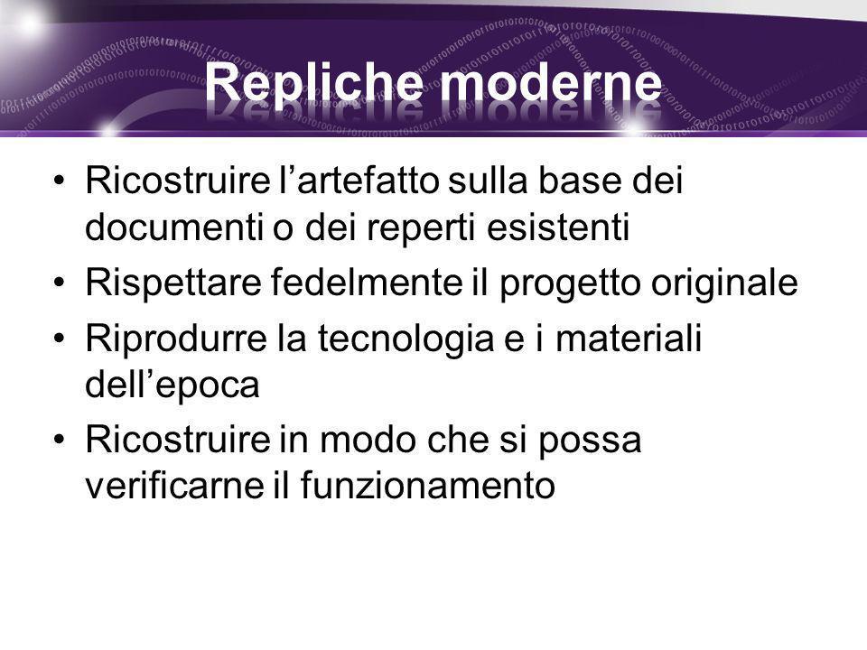 Repliche moderne Ricostruire l'artefatto sulla base dei documenti o dei reperti esistenti. Rispettare fedelmente il progetto originale.