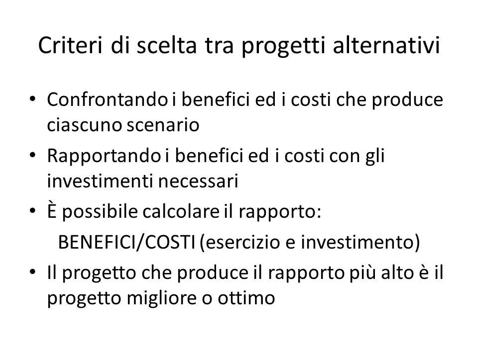 Criteri di scelta tra progetti alternativi