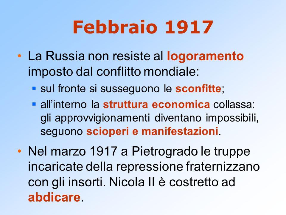 Febbraio 1917 La Russia non resiste al logoramento imposto dal conflitto mondiale: sul fronte si susseguono le sconfitte;