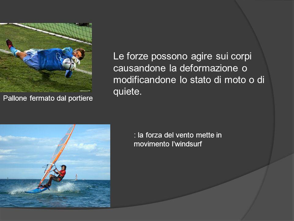Le forze Le forze possono agire sui corpi causandone la deformazione o modificandone lo stato di moto o di quiete.