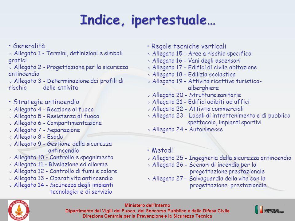 Indice, ipertestuale… • Generalità • Regole tecniche verticali