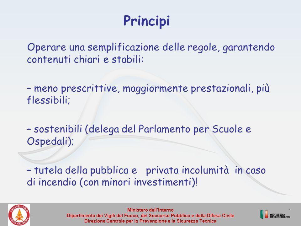 Principi Operare una semplificazione delle regole, garantendo contenuti chiari e stabili: