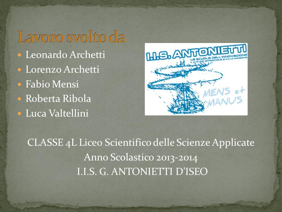 Lavoro svolto da Leonardo Archetti Lorenzo Archetti Fabio Mensi