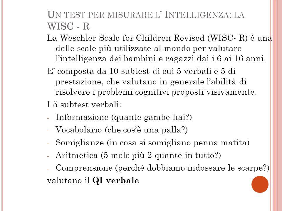 Un test per misurare l' Intelligenza: la WISC - R