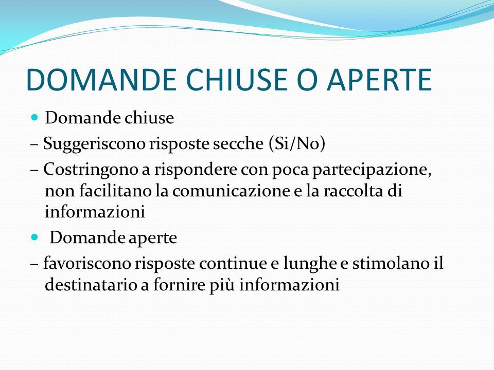 DOMANDE CHIUSE O APERTE