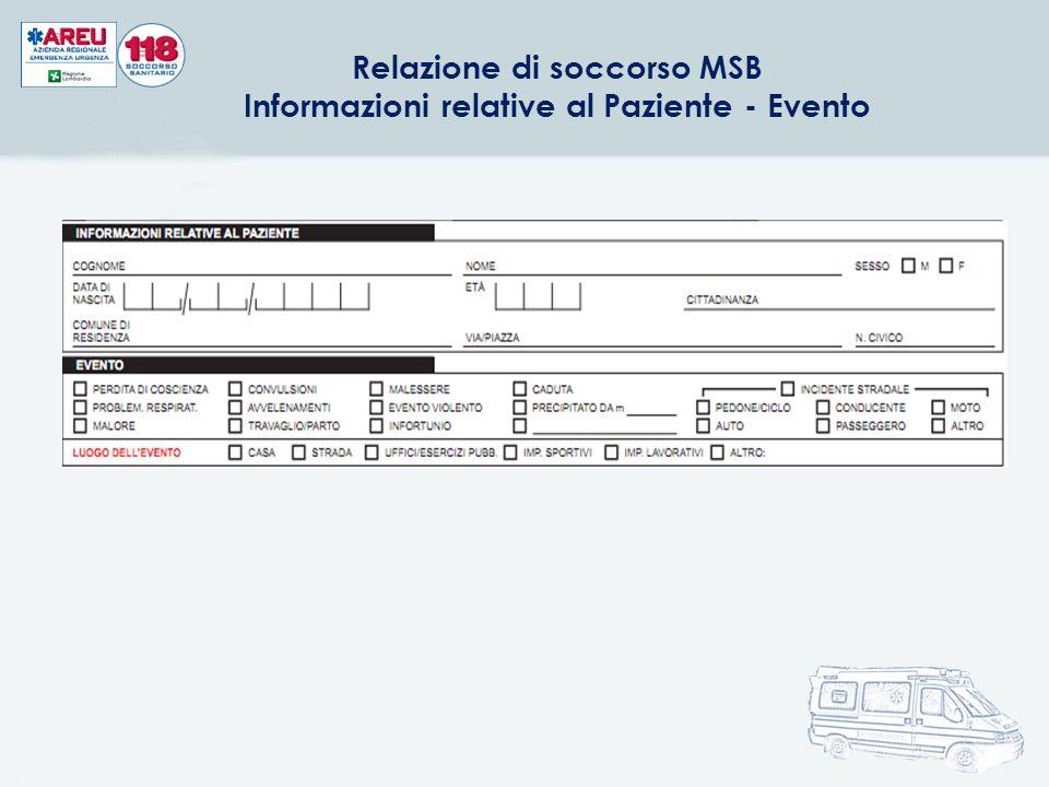 Relazione di soccorso MSB Informazioni relative al Paziente - Evento