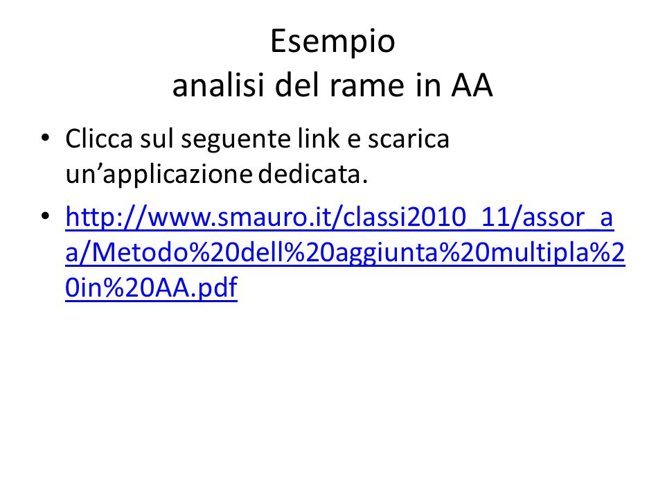 Esempio analisi del rame in AA