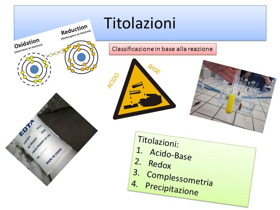 Titolazioni Titolazioni: Acido-Base Redox Complessometria