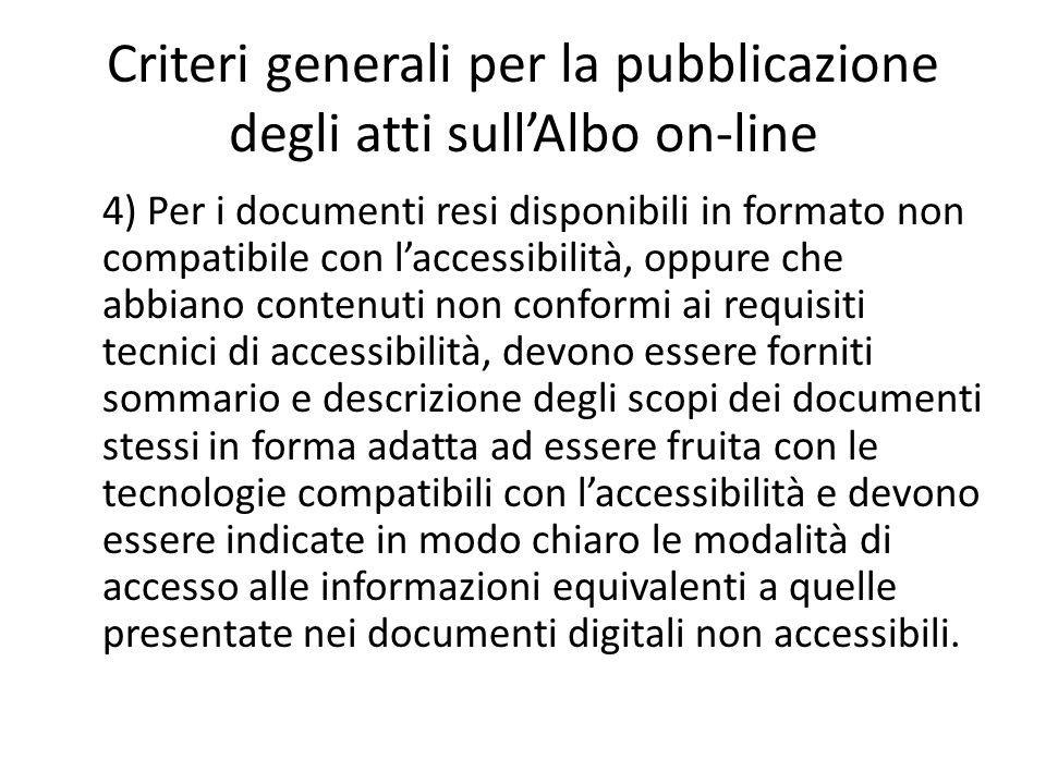 Criteri generali per la pubblicazione degli atti sull'Albo on-line