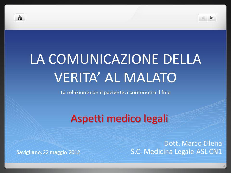 LA COMUNICAZIONE DELLA VERITA' AL MALATO