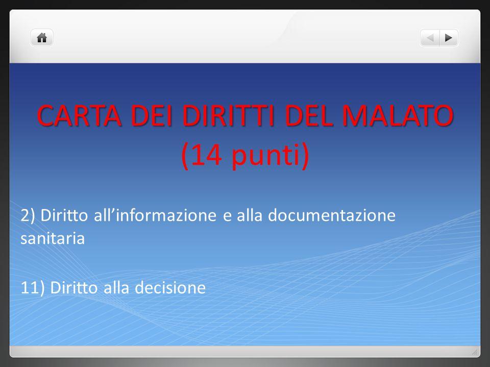 CARTA DEI DIRITTI DEL MALATO (14 punti)