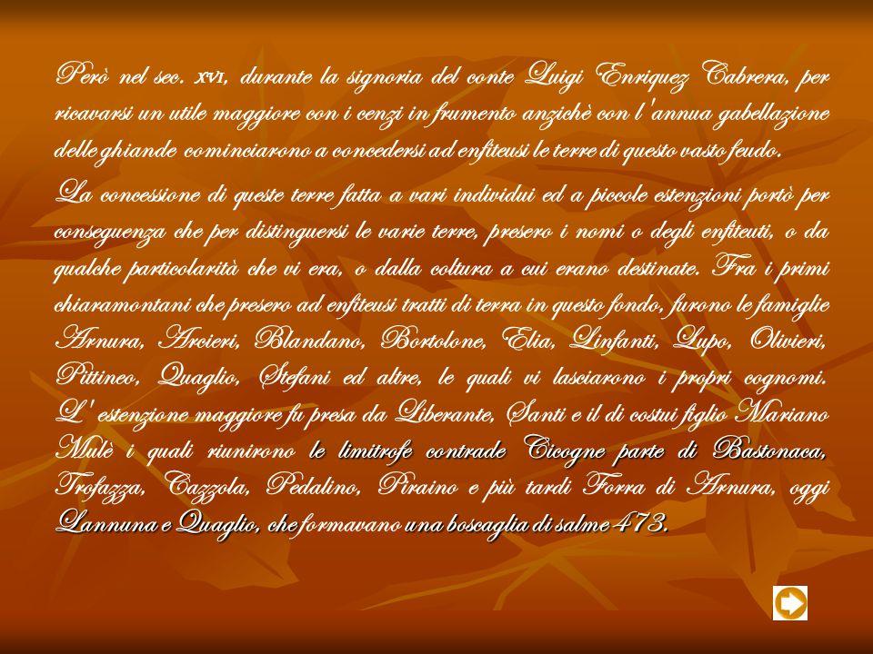 Però nel sec. XVI, durante la signoria del conte Luigi Enriquez Cabrera, per ricavarsi un utile maggiore con i cenzi in frumento anzichè con l annua gabellazione delle ghiande cominciarono a concedersi ad enfiteusi le terre di questo vasto feudo.