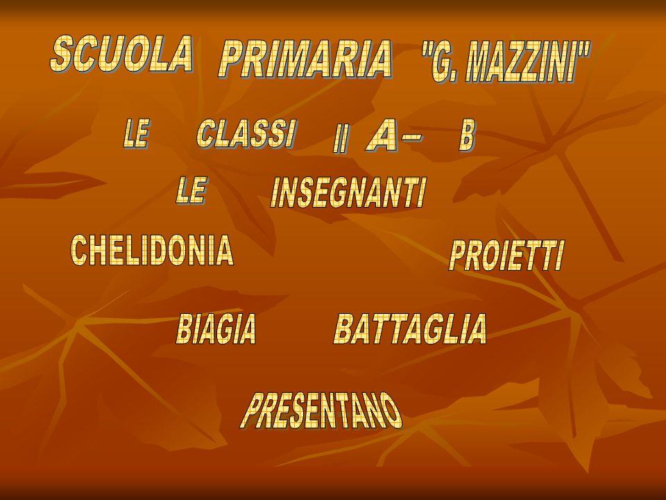 SCUOLA PRIMARIA. G. MAZZINI LE. CLASSI. A. B. II. - LE. INSEGNANTI. CHELIDONIA. PROIETTI.