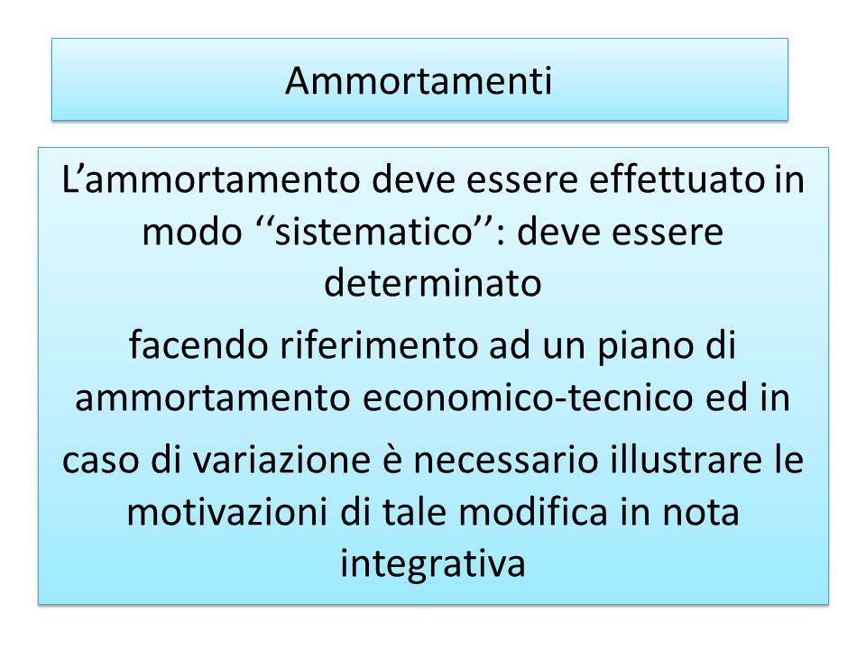 Ammortamenti L'ammortamento deve essere effettuato in modo ''sistematico'': deve essere determinato.