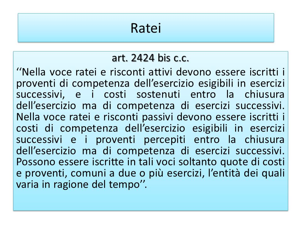 Ratei art. 2424 bis c.c.