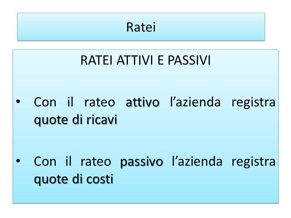 Ratei RATEI ATTIVI E PASSIVI. Con il rateo attivo l'azienda registra quote di ricavi.