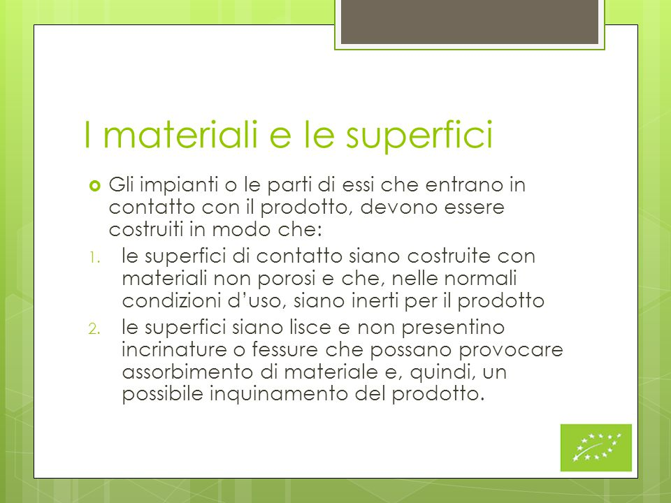 I materiali e le superfici