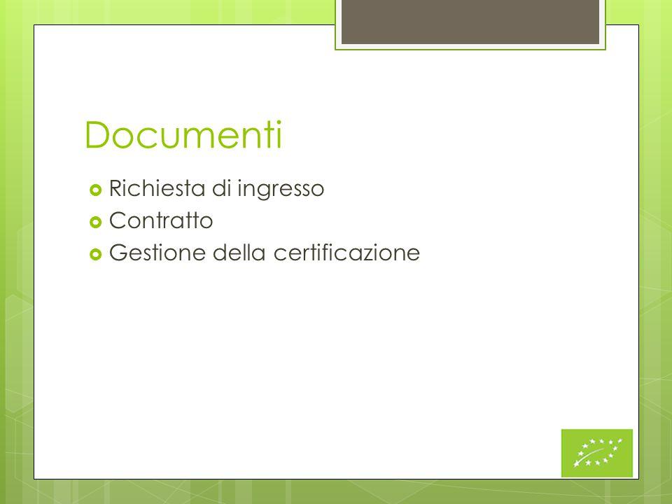 Documenti Richiesta di ingresso Contratto