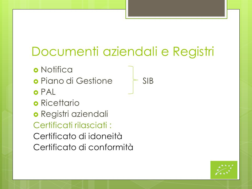 Documenti aziendali e Registri