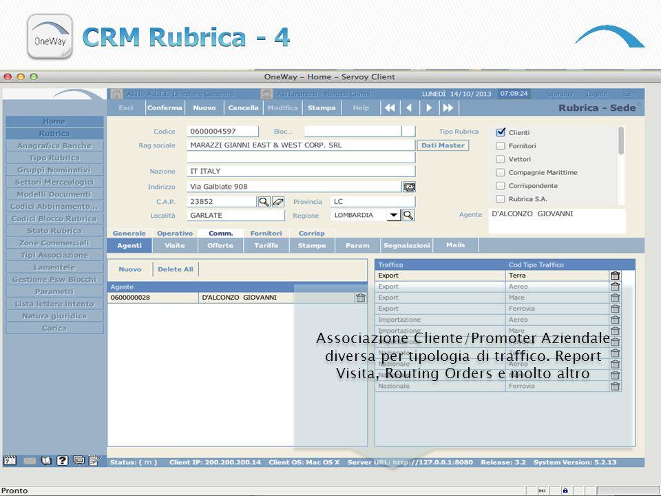 CRM Rubrica - 4 Associazione Cliente/Promoter Aziendale diversa per tipologia di traffico.
