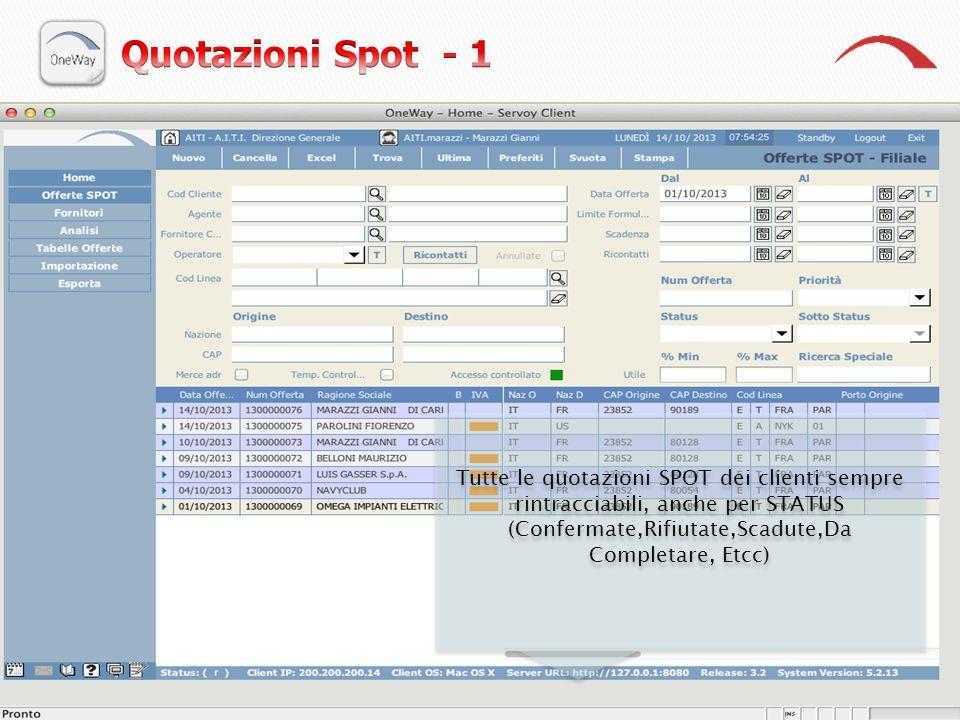 Quotazioni Spot - 1 Tutte le quotazioni SPOT dei clienti sempre rintracciabili, anche per STATUS (Confermate,Rifiutate,Scadute,Da Completare, Etcc)