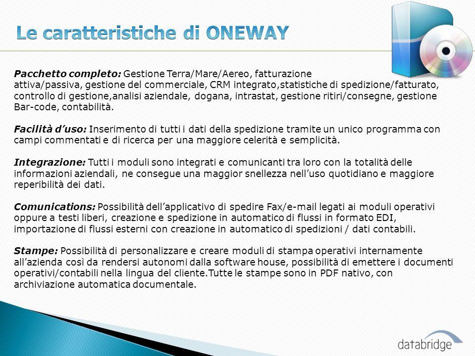 Le caratteristiche di ONEWAY