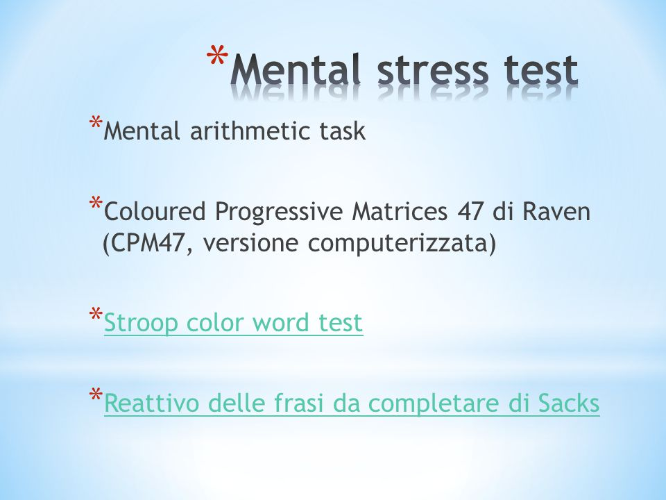 Mental stress test Mental arithmetic task