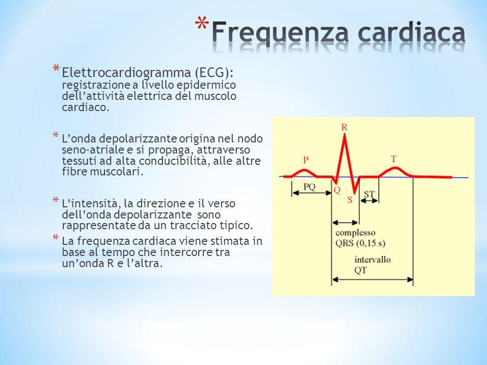 Frequenza cardiaca Elettrocardiogramma (ECG): registrazione a livello epidermico dell'attività elettrica del muscolo cardiaco.