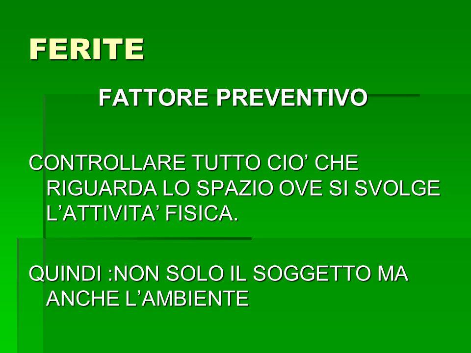 FERITE FATTORE PREVENTIVO