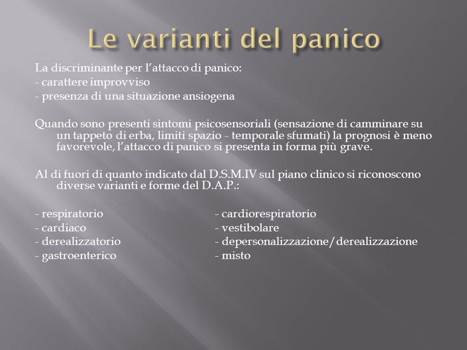 Le varianti del panico La discriminante per l'attacco di panico: