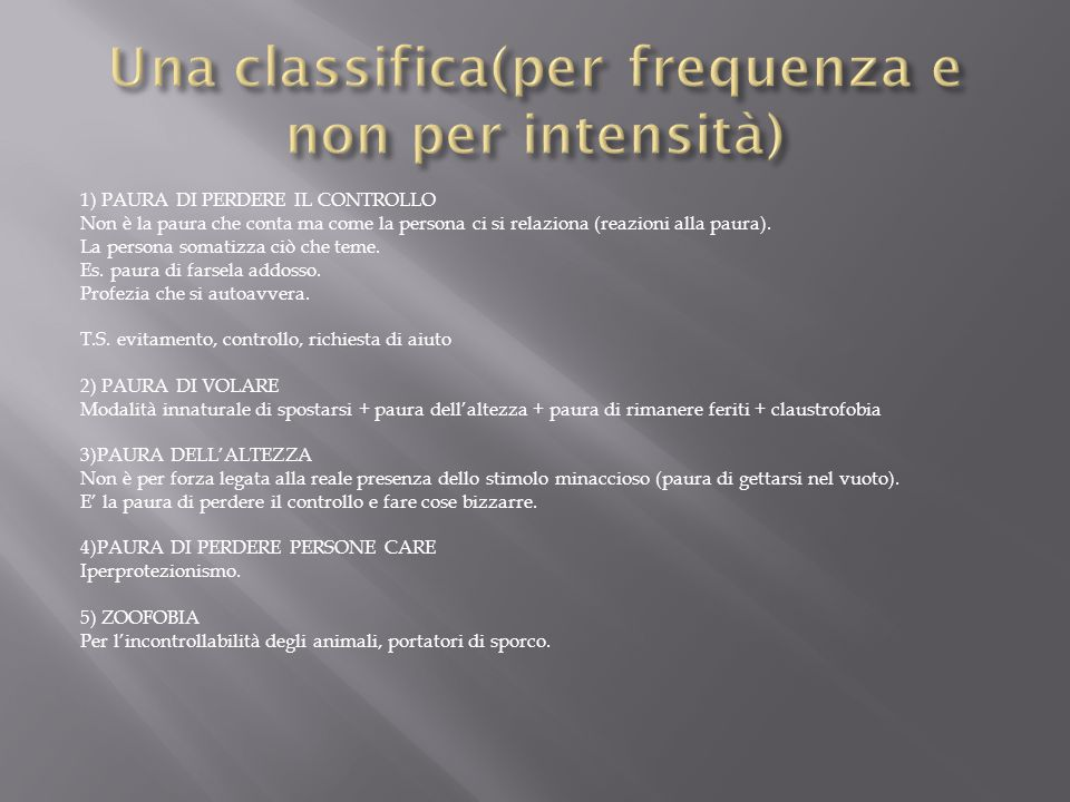 Una classifica(per frequenza e non per intensità)