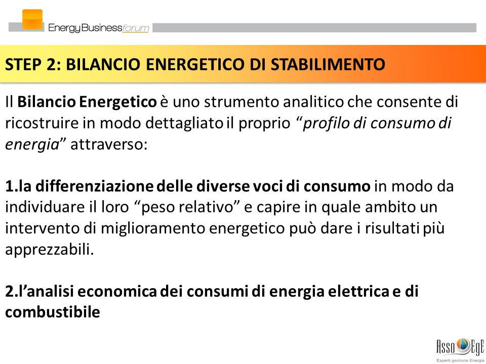 STEP 2: BILANCIO ENERGETICO DI STABILIMENTO