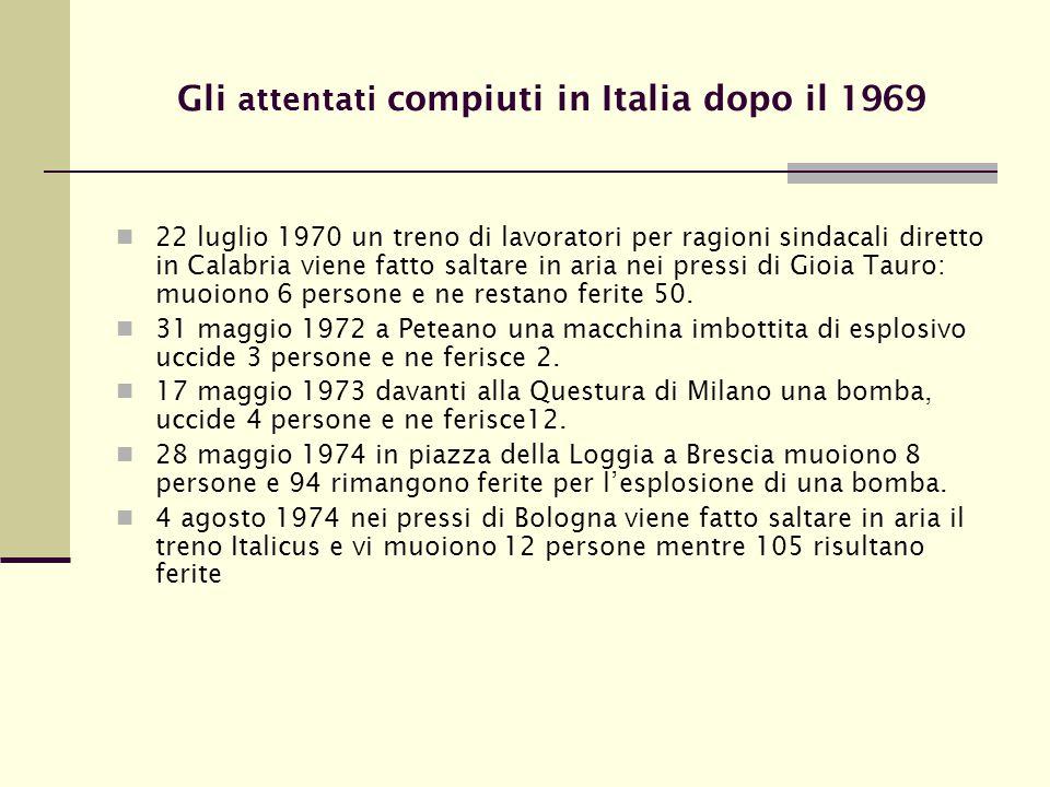 Gli attentati compiuti in Italia dopo il 1969
