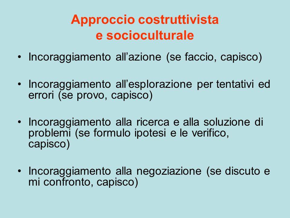 Approccio costruttivista e socioculturale