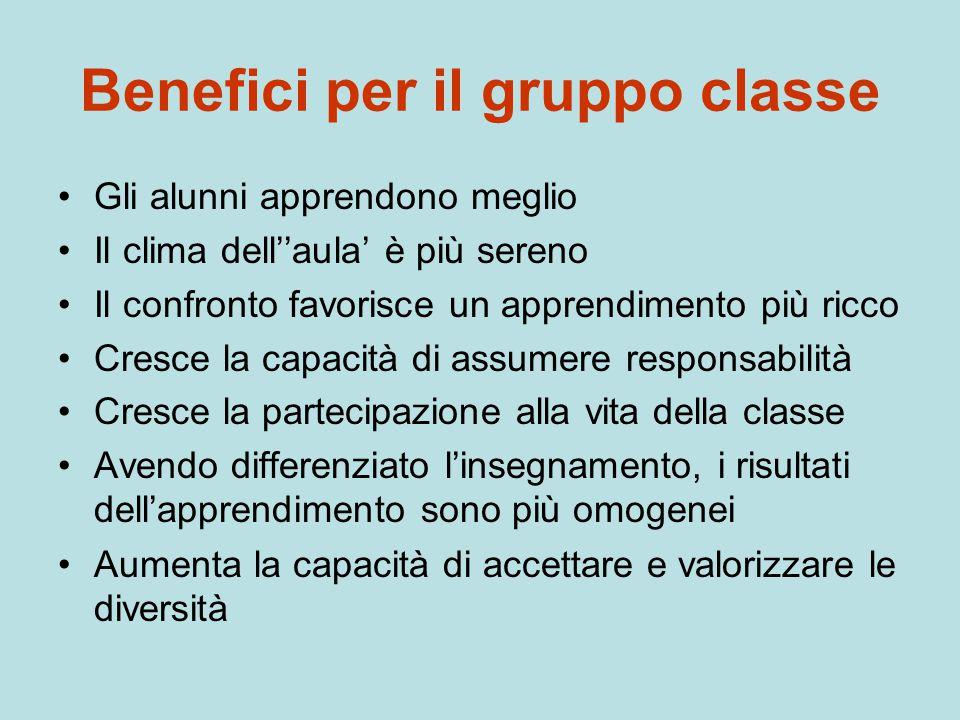 Benefici per il gruppo classe