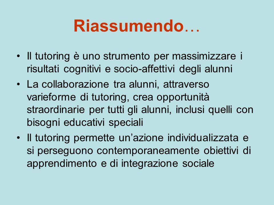 Riassumendo… Il tutoring è uno strumento per massimizzare i risultati cognitivi e socio-affettivi degli alunni.