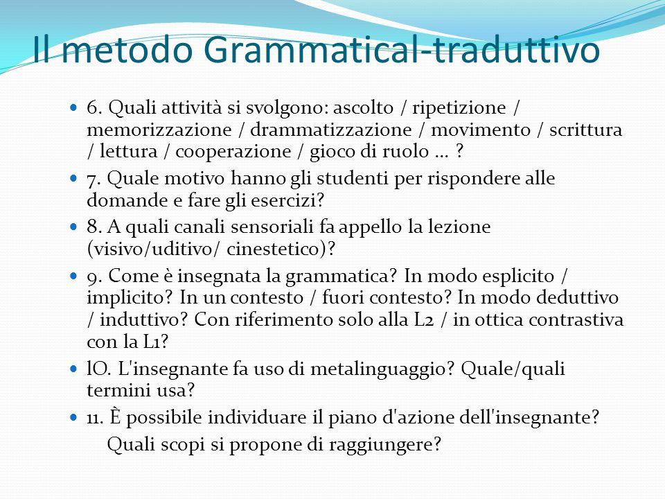 Il metodo Grammatical-traduttivo