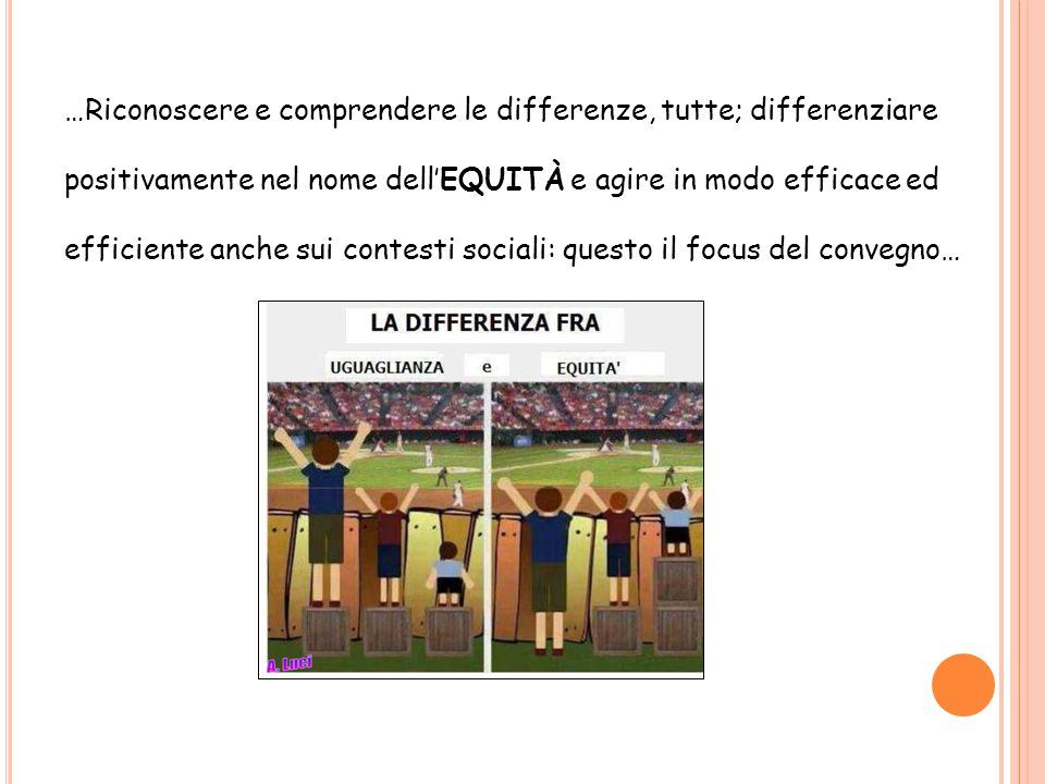 …Riconoscere e comprendere le differenze, tutte; differenziare positivamente nel nome dell'EQUITÀ e agire in modo efficace ed efficiente anche sui contesti sociali: questo il focus del convegno…