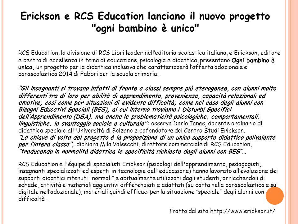 Erickson e RCS Education lanciano il nuovo progetto