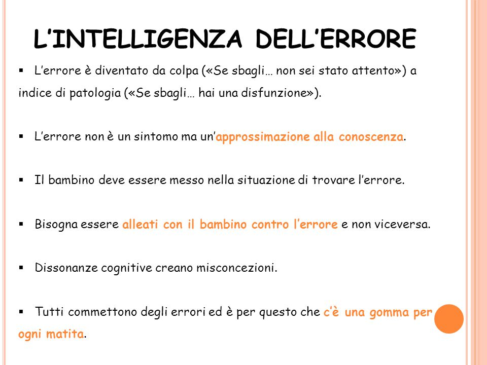 L'INTELLIGENZA DELL'ERRORE