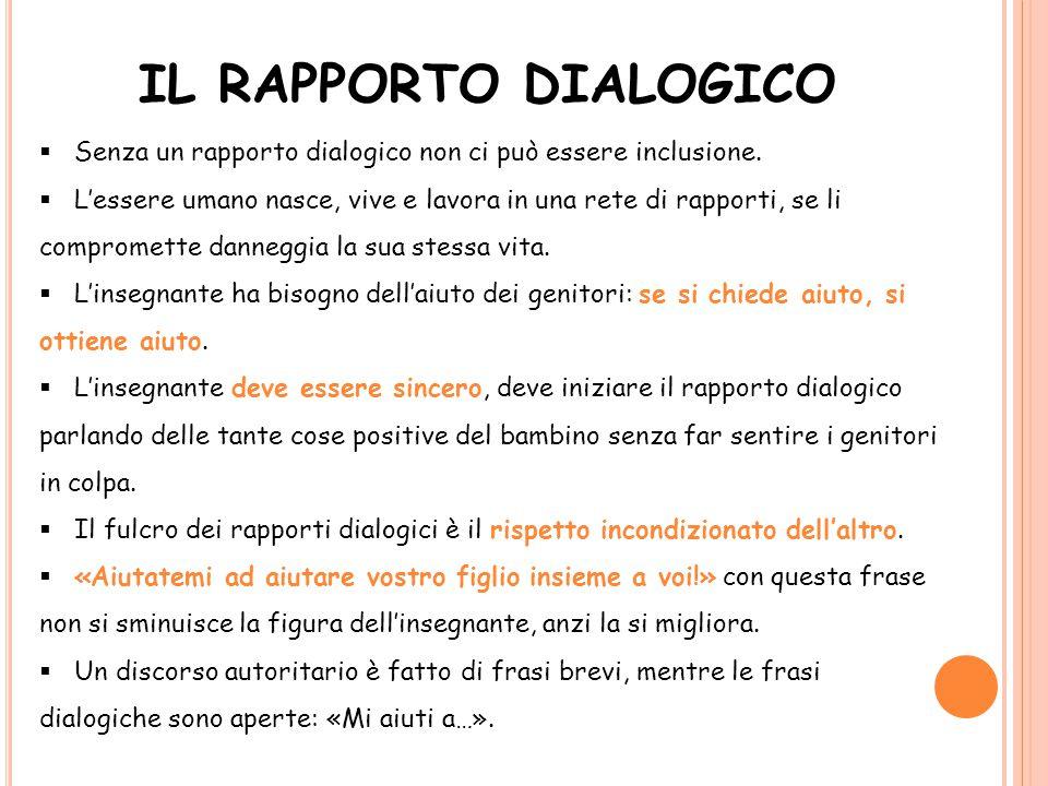 IL RAPPORTO DIALOGICO Senza un rapporto dialogico non ci può essere inclusione.