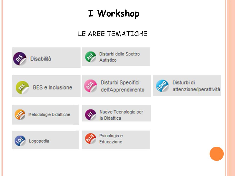 I Workshop LE AREE TEMATICHE