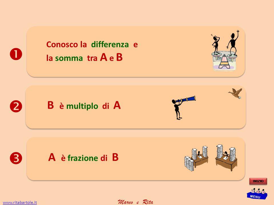    B è multiplo di A A è frazione di B Conosco la differenza e