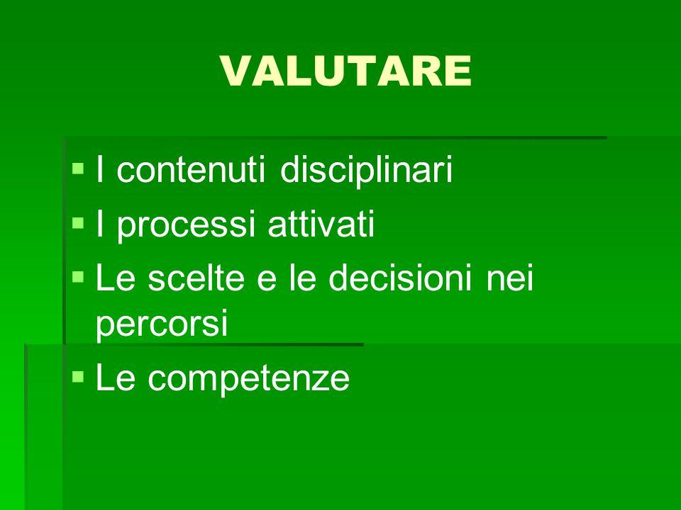 VALUTARE I contenuti disciplinari I processi attivati