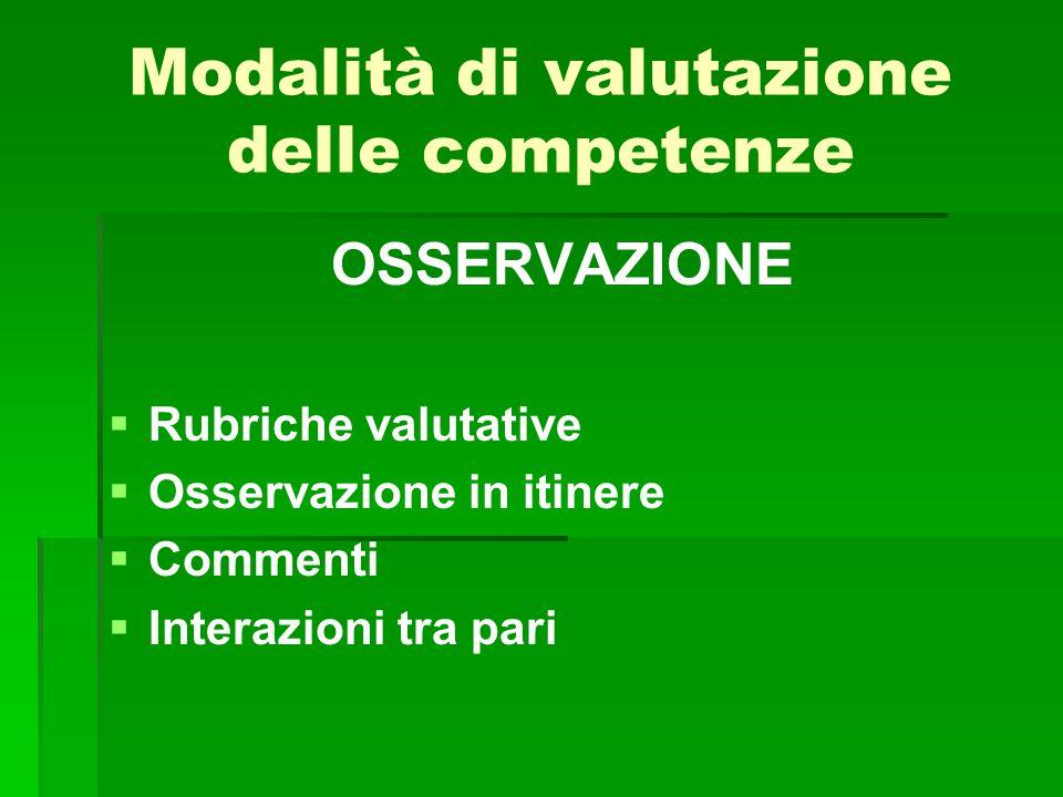 Modalità di valutazione delle competenze