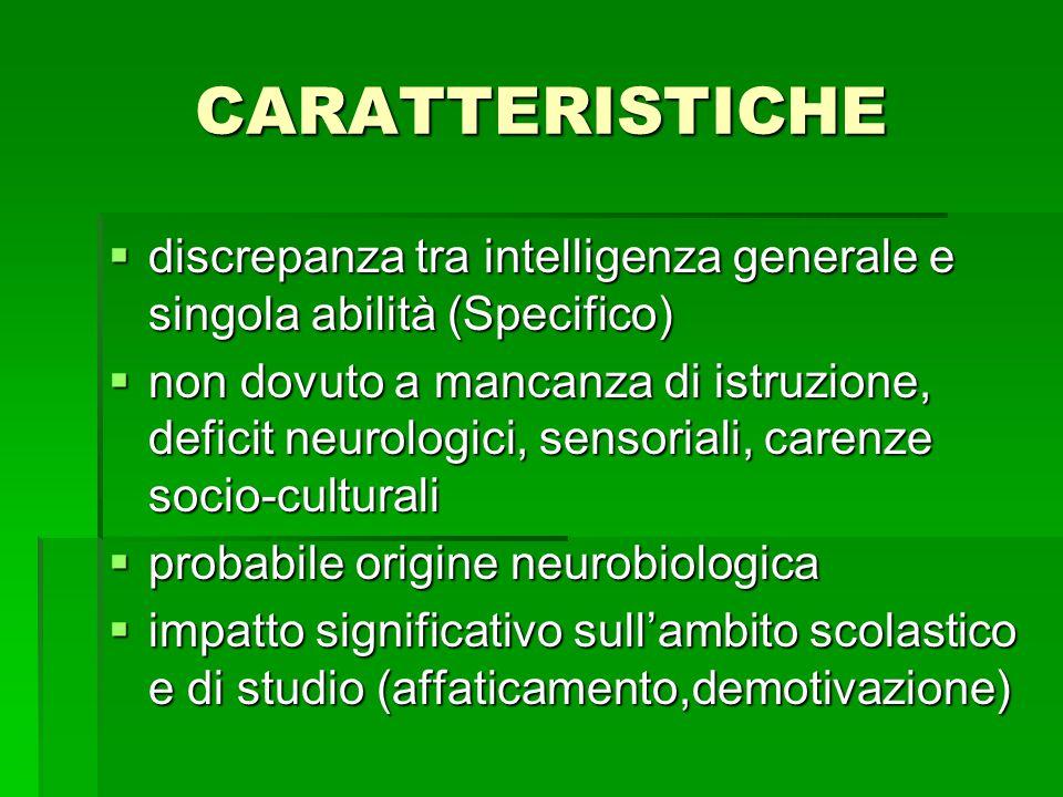 CARATTERISTICHE discrepanza tra intelligenza generale e singola abilità (Specifico)