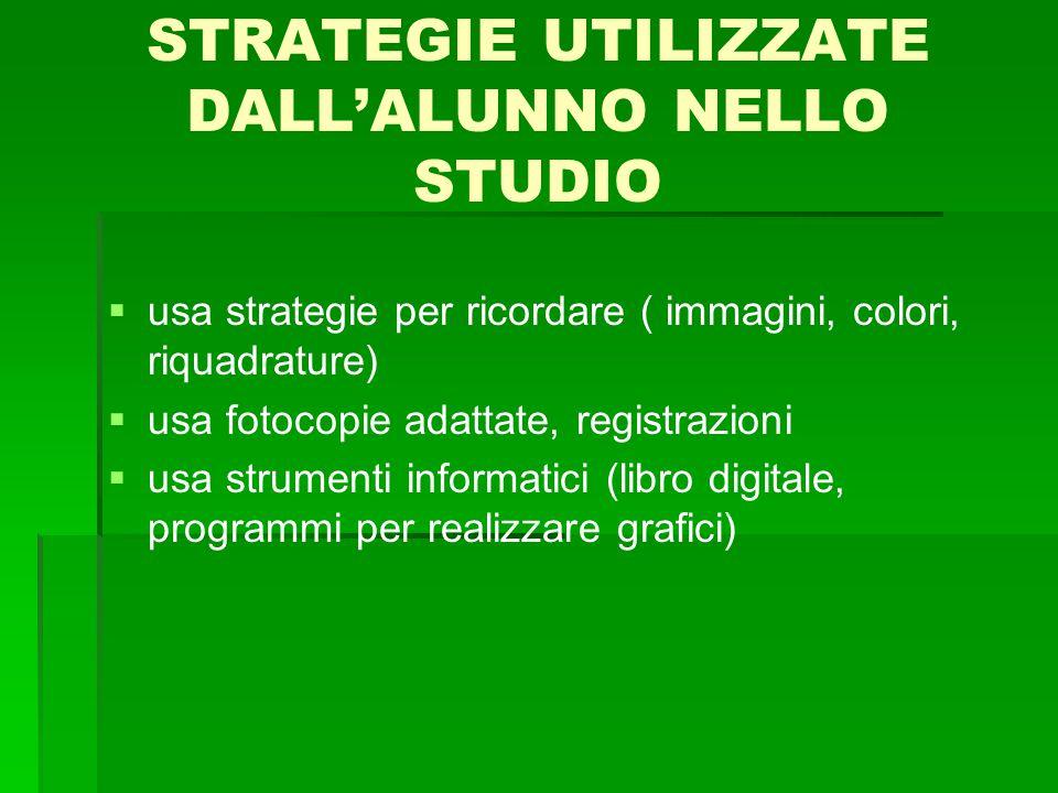 STRATEGIE UTILIZZATE DALL'ALUNNO NELLO STUDIO